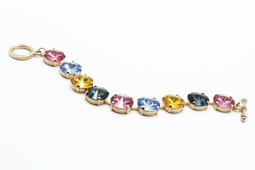 Multicolored pink, blues and orange Swarovski crystal rivoli bracelet
