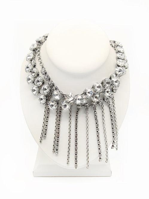 Statement Glass Crystal Fringe Necklace