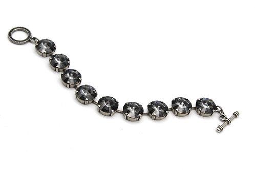 Silver Night Glass Crystal Large Stone Bracelet