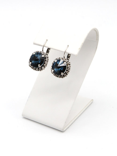 Antiqued Silver Crystal Drop Dangle Halo Earring