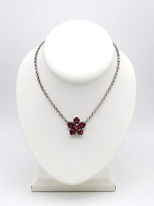 Pink Crystal Flower Pendant Necklace