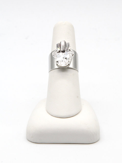 Clear Crystal Hamsa, Hand of Fatima Silver Ring