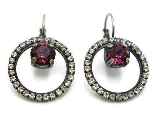 Swarovski crystal amethyst purple dangle hoop earrings
