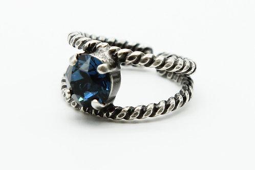 blue Swarovski crystal ring-rope ring-split shank ring-birthstone ring-Sapphire crystal ring