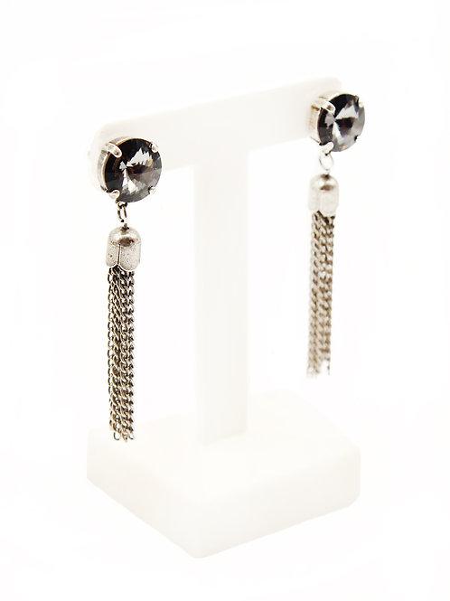 long tassel chain Swarovski crystal earrings