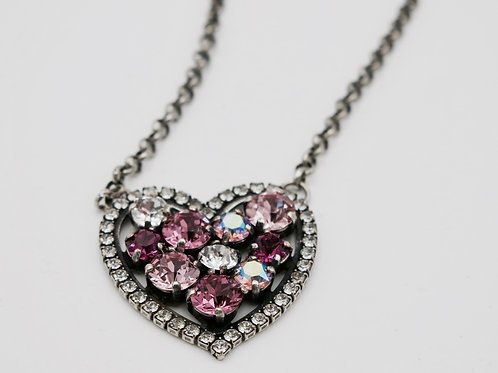 Crystal Heart Necklace with Genuine Swarovski Pink and Clear Crystals