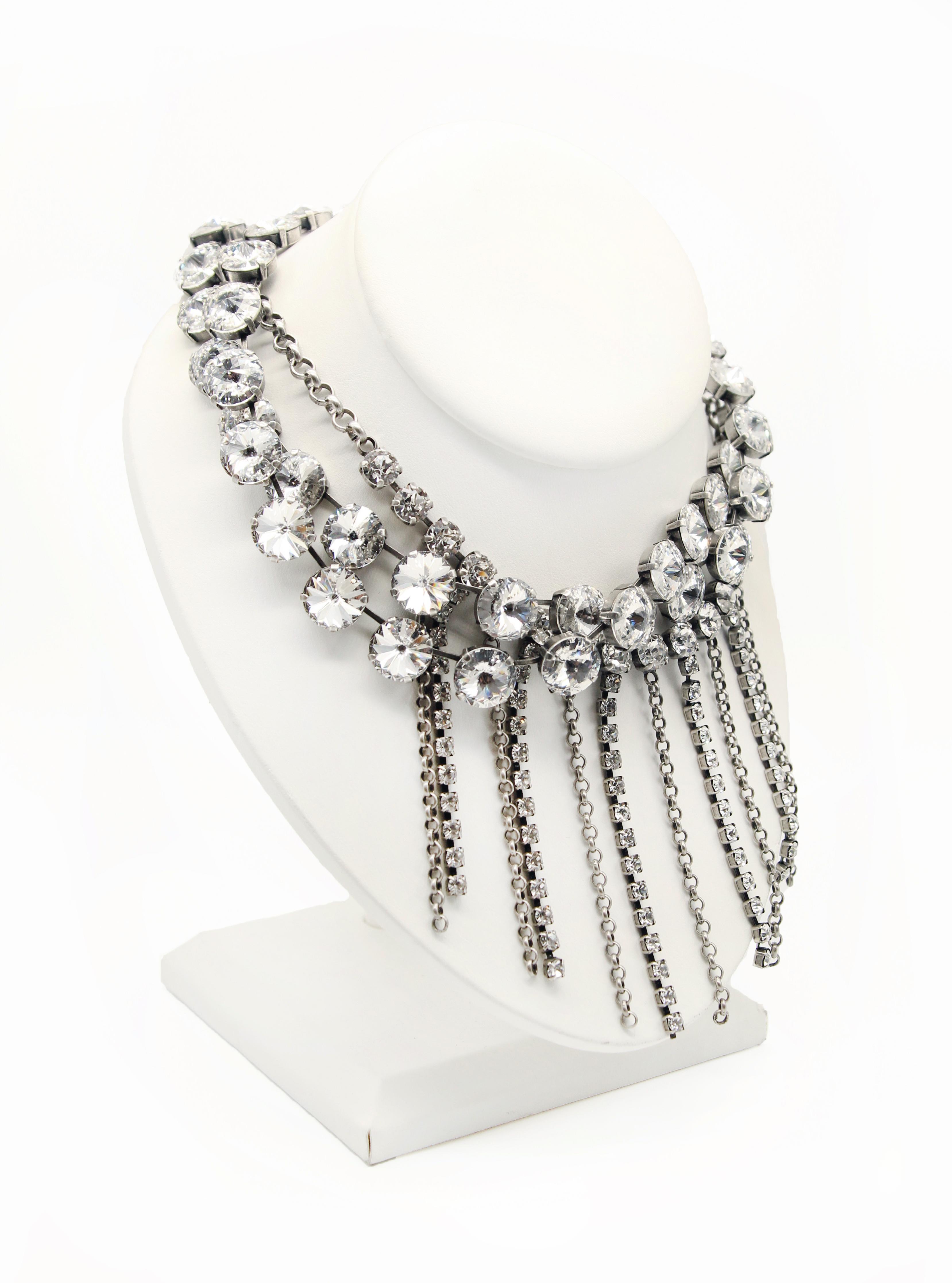 layered Swarovski crystal fringe necklace