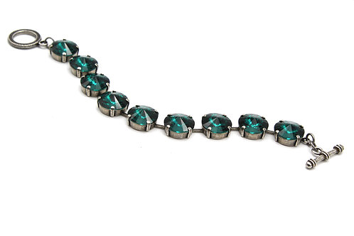 Antique Silver Emerald Green Large Glass Crystal Bracelet