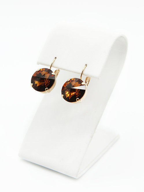 brown topaz Swarovski crystal 14mm rivoli earrings