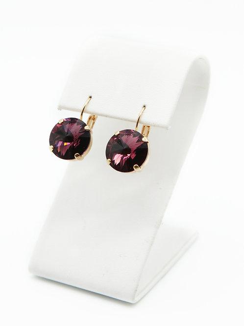 Women's Purple Earrings-Crystal Earrings-RoseGold Bridal Earrings