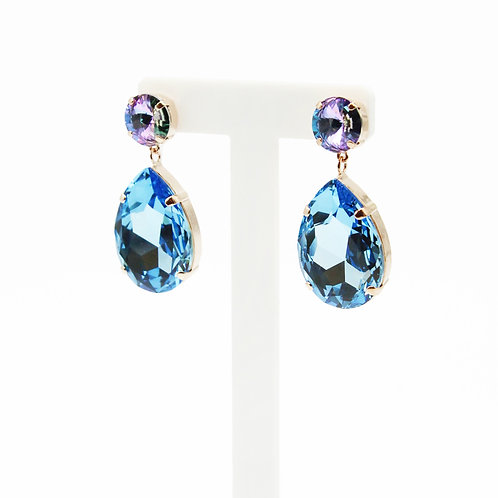Edgy Oversized Aquamarine and Purple Teardrop Earrings