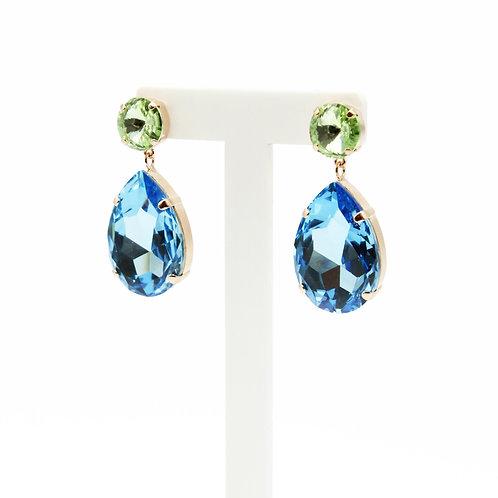 Peridot and Aquamarine Earrings-Edgy Earrings-Statement Earrings-Rose Gold Earrings