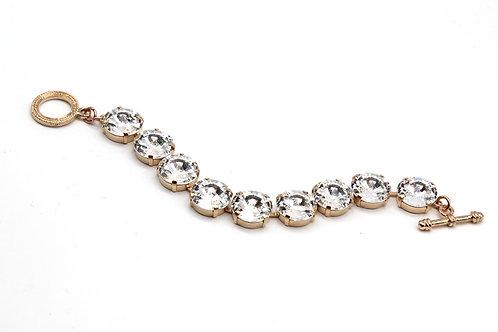 Swarovski Clear large stone 14mm statement toggle bracelet rose gold