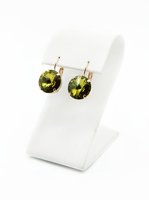 Olive green jewelry-rose gold earrings-simple earrings for her-olivine earrings
