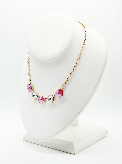 Peony Pink Glass Crystal Five Stone Necklace