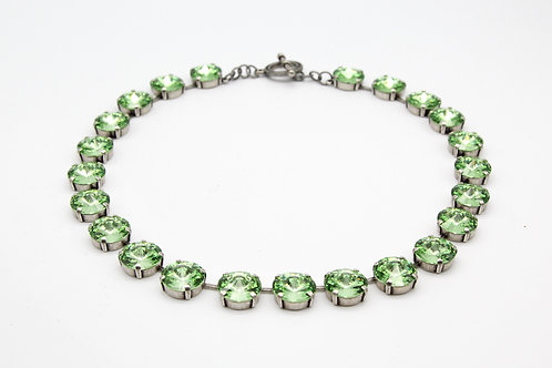 Peridot glass Crystal tennis necklace