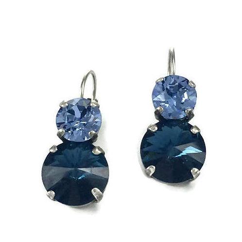 Blue Sapphire Fashion Jewelry Dangle Lever Back Swarovski Crystal Earrings