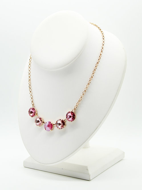 Pink Necklace-Swarovski Crystal Pink Necklace-pink rose gold necklace-Swarovski crystal necklace