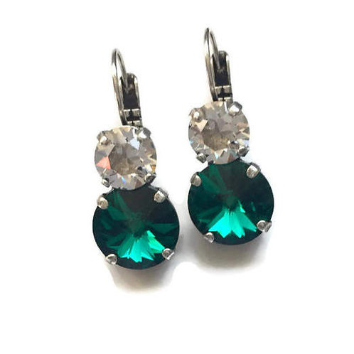 Fashion Jewelry Earrings Emerald Swarovski Crystal Dangle Earrings