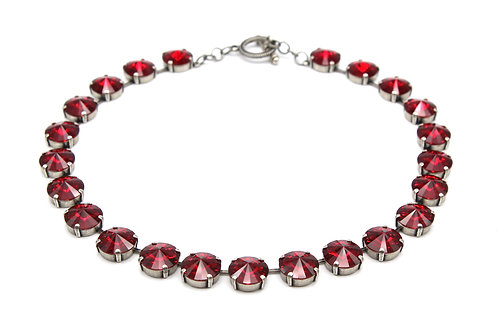 Siam Ruby Red Large Stone Swarovski Collar Crystal Necklace antique silver