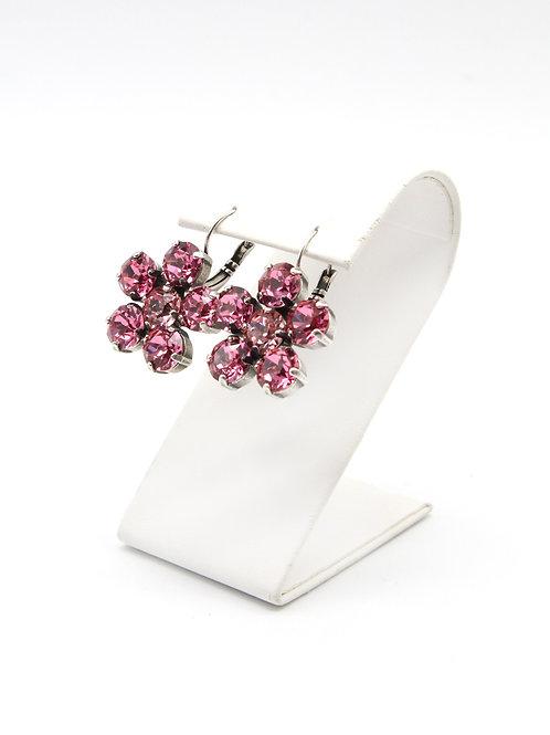 Rose pink Swarovski flower garden party lever back antique silver earrings