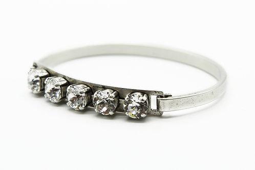 Swarovski Crystal clear bangle antique silver