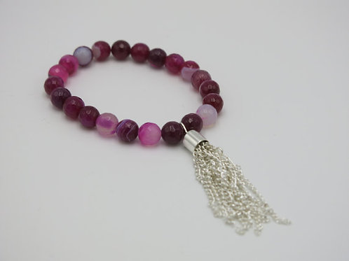 8mm striped pink agate beaded stretch bracelet with a silver tassel