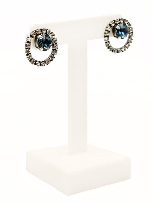 sapphire stud hoop earring