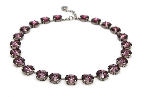 round purple glass Swarovski elements crystal collet necklace