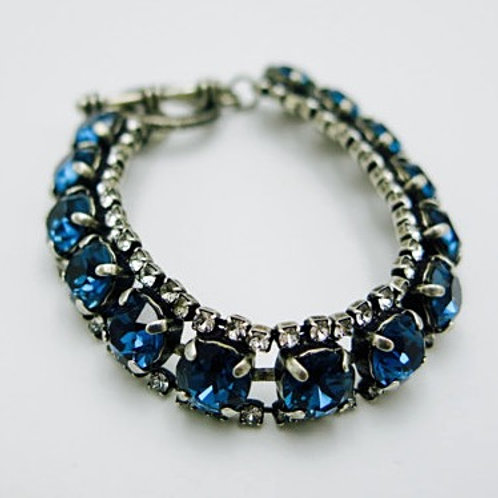Vintage Antique Silver Glass Crystal Sapphire Bracelet