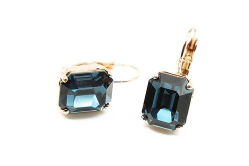 Sapphire Earrings-Emerald Cut Sapphire Earrings-Swarovski Earrings