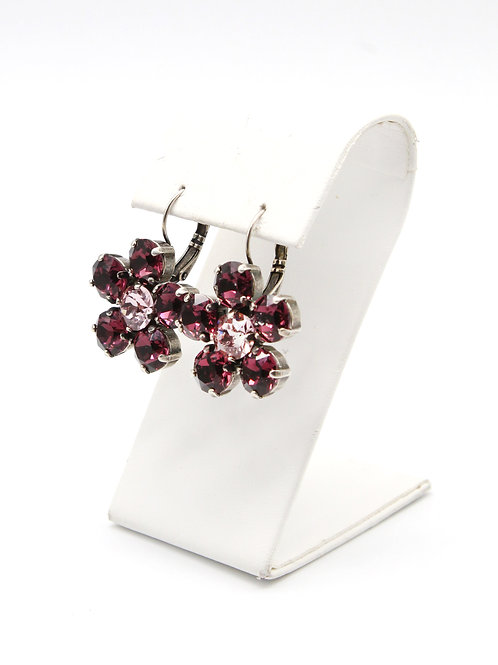 Amethyst purple 39ss Swarovski lever-back dangle drop flower garden party earrings in antique silver