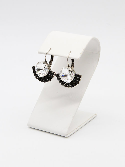 Crystal clear cushion cut stone dangle lever back earrings with black pave rhinestone crystals