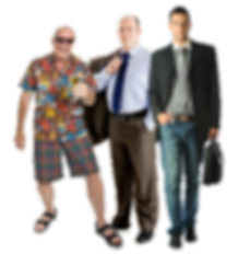 3 men one dressed in Hawaiian shirt, one in suit, on in casual sportscoat