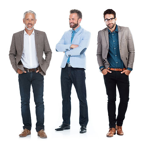 3 men dressed in sport coasts and blazers.