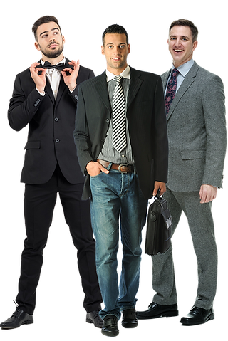 3 men 1 in suit with bow tie,one in casual sports coat and 1 in suit.