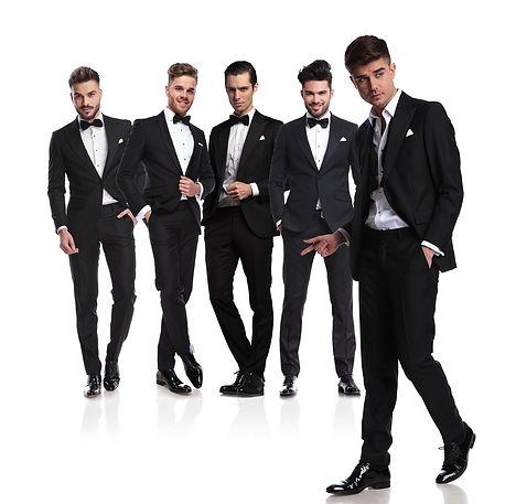 Groomsmen dressed in tuxedos
