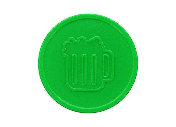 Stock Embossed 29mm Plastic Light Green Beer Tokens - 500