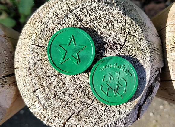 Small Green Eco Star Tokens 29mm - Pack of 500