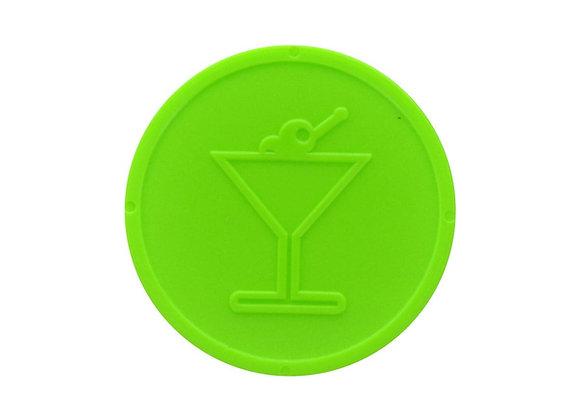 Stock Embossed 29mm Plastic Neon Green Cocktail Token - 500
