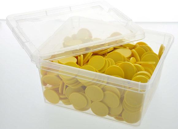 Box of 500 29mm Plain Yellow Tokens