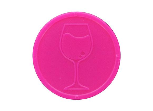 Stock Embossed 29mm Plastic Neon Pink Wine Token - 500 Tokens