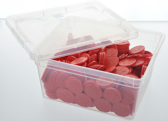 Box of 500 29mm Red Star Embossed Tokens