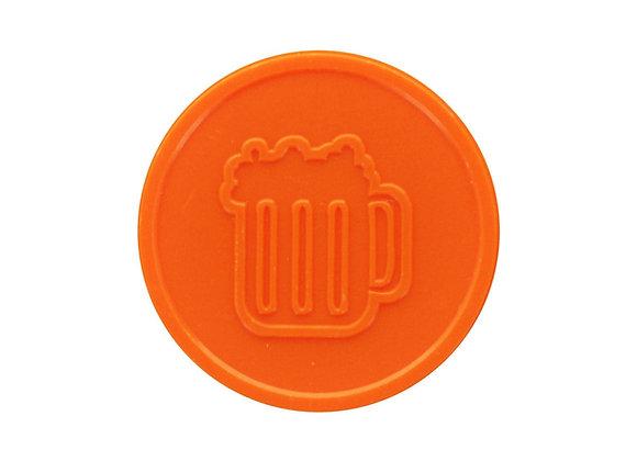 Stock Embossed 29mm Plastic Orange Beer Tokens - 500 Tokens