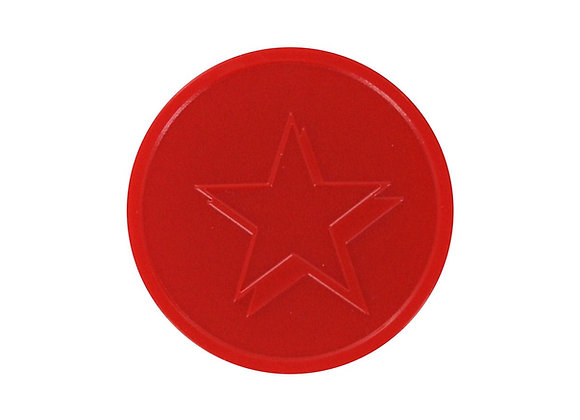 Stock Embossed 29mm Plastic Red Star Tokens -500 Tokens