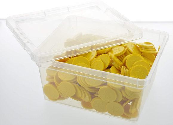 Box of 500 29mm Yellow Star Embossed Tokens
