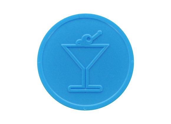 Stock Embossed 29mm Plastic Light Blue Cocktail Token - 500 Tokens
