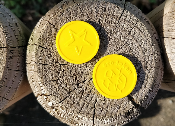 Small Yellow Eco Star Tokens 29mm - Pack of 500