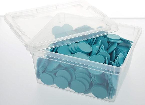 Box of 500 29mm Plain Aqua Tokens