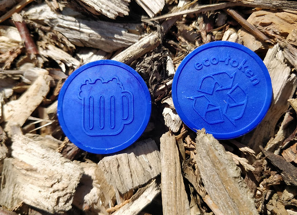 Biodegradable Eco Tokens Embossed 29mm Blue Beer Design (500)